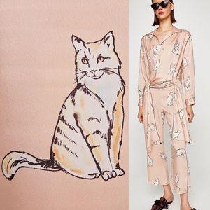 Rare Zara Pastel Cat Print Pajama Suit Pants Shirt